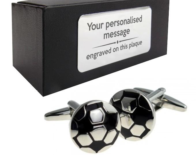 Football soccer footballer CUFFLINKS gift, personalised engraved cuff link box - 166