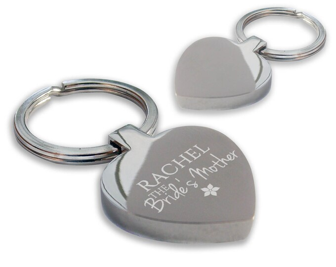 Personalised engraved MOTHER of the BRIDE wedding keyring gift, chunky heart shape wedding favour thank you keyring - HE-WED5