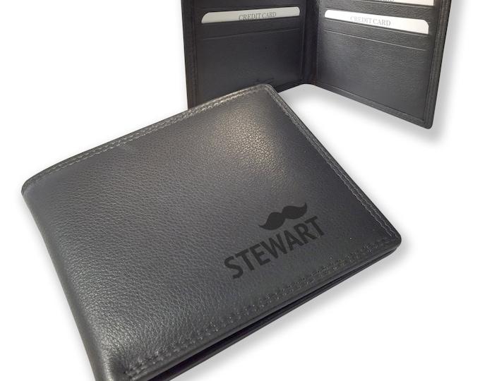 Engraved MONOGRAM black leather wallet gift, personalised monogrammed gift for him - DALSLBK6
