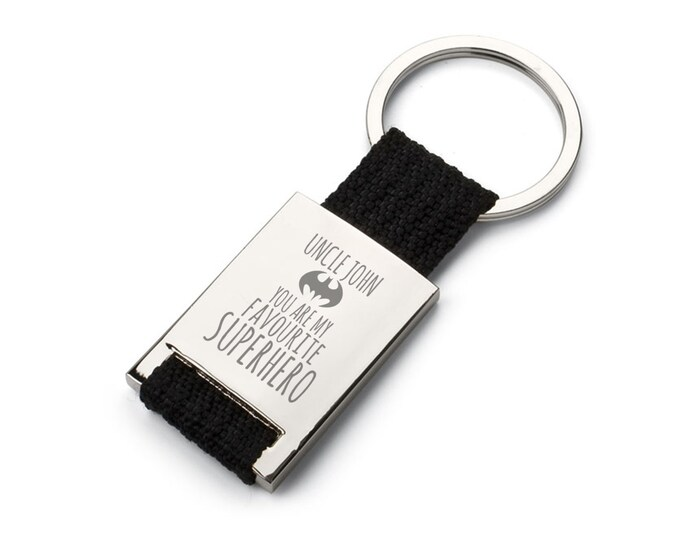 Engraved SUPERHERO UNCLE godfather keyring gift, personalised keychain, You're my superhero - 7452-SUP3