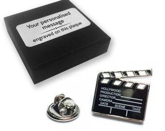 Movie, clapperboard, film, lapel pin badge, tie pin, brooch accessory, boutonniere - personalised engraved gift box - 212
