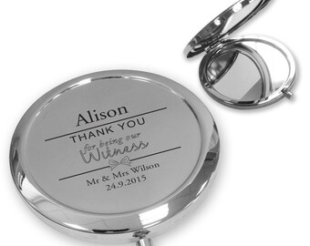Personalised engraved WITNESS compact mirror wedding thank you gift idea, handbag mirror - BW4