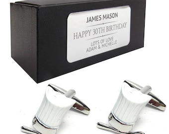 Chef hat spoon baking CUFFLINKS birthday gift, presentation box PERSONALISED ENGRAVED plate - 266