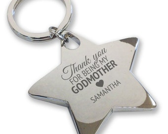 Personalised engraved GODMOTHER keyring, christening, baptism, gift, deluxe chunky star keyring - GODM1