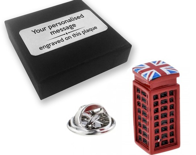 London, telephone, box, lapel pin badge, tie pin, brooch accessory, boutonniere - personalised engraved gift box - 852
