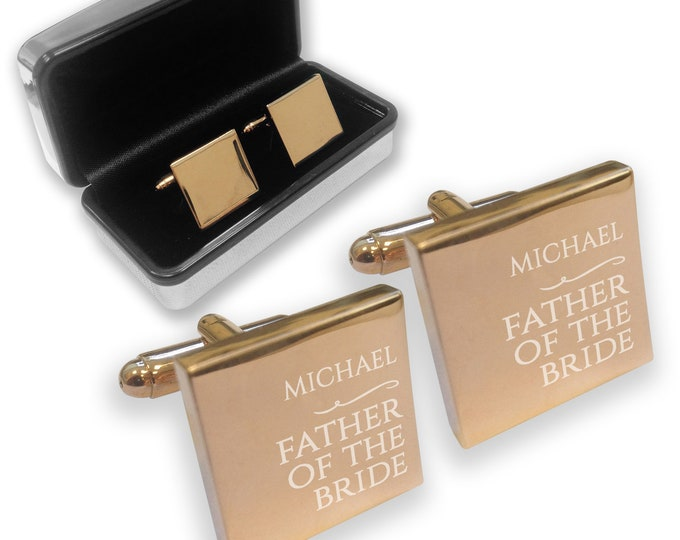 Engraved FATHER of the BRIDE wedding cufflinks, rose gold colour, chromed gift box, personalised - RNY1