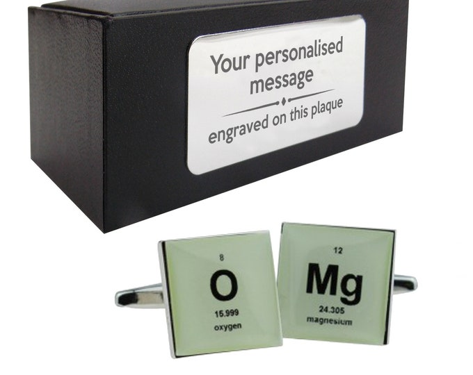 Periodic table, chemistry, science, omg CUFFLINKS birthday gift, presentation box PERSONALISED ENGRAVED plate - 154