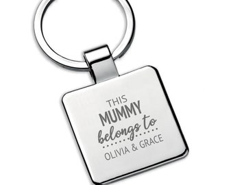 Personalised This MUMMY belongs to keyring square metal keychain gift - 5580LON4