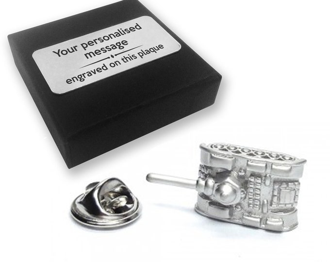 Tank, military, army, lapel pin badge, tie pin, brooch accessory, boutonniere - personalised engraved gift box - 331