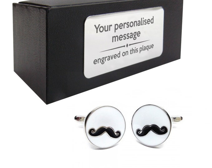 Moustache, hipster, wedding novelty CUFFLINKS gift, presentation box personalised ENGRAVED customized plate - 673M