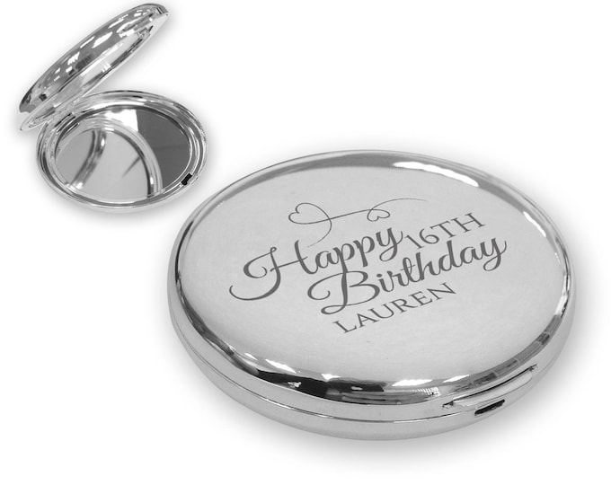 Personalised engraved 16TH BIRTHDAY compact mirror gift idea, SILVER plated, Happy Birthday - BDAY16