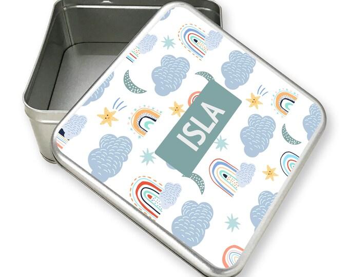 Personalised kids rainbow themed tin box, metal storage box gift idea, biscuit tin, treats tin, craft tin, rainbow clouds design - TS17-TN22