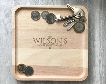 Engraved accessory tray family gift idea, personalised wooden valet catchall key coin tray, home sweet home SQVT2