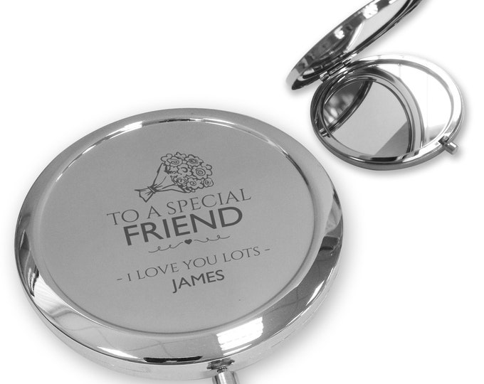 Personalised engraved Special FRIEND compact mirror gift, handbag pocket mirror Push button - PBM-FP10