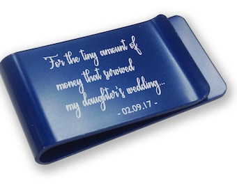 Personalised engraved father of the bride MONEY CLIP wedding gift, thank you - blue money clip annodised aluminium  - LMSU1B