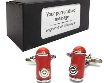 American USA fire hydrant fireman fire themed novelty cufflinks birthday gift, presentation box personalised customized ENGRAVED plate - 158