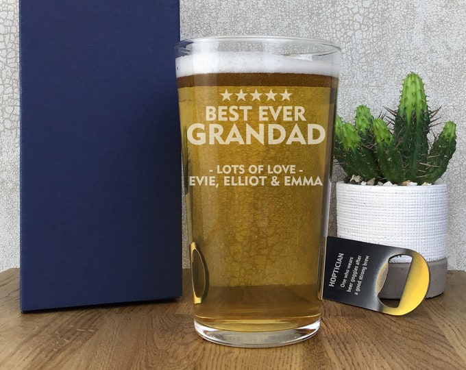 Laser engraved GRANDAD pint glass gift, personalised beer glass, gift boxed, best ever - SPT-FAM1