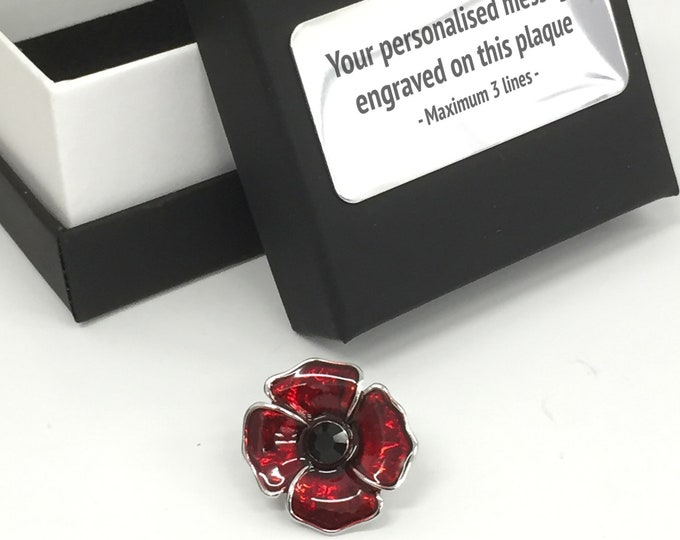 Enamelled poppy brooch with gemstones, Birthday, Remembrance, Personalised engraved jewellery box - 406