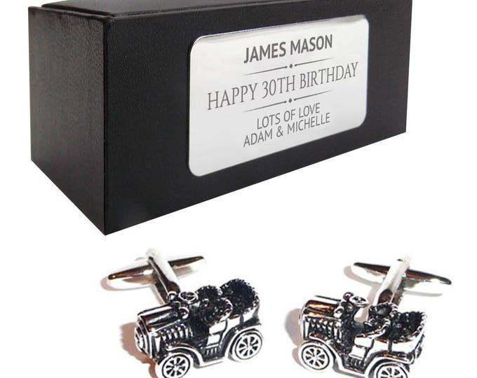 Vintage retro car CUFFLINKS birthday gift, presentation box PERSONALISED ENGRAVED plate - 078