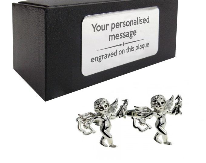 Cupid, love, valentines novelty CUFFLINKS birthday gift, presentation box Personalised ENGRAVED customized plate - 270c