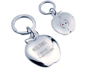 Personalised engraved Teacher teaching assistant keyring gift, silver plated, crystal - AP-TEA4