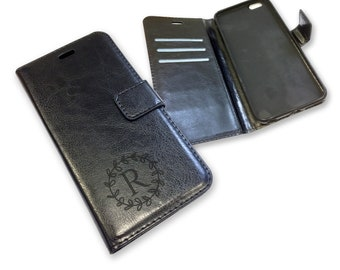 Engraved MONOGRAM iphone 6S 6 plus phone case, black leather PU wallet, personalised phone book case, credit card slots - IP6S-INI