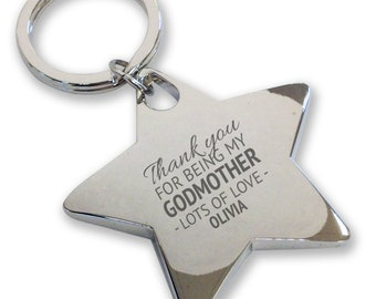 Personalised engraved GODMOTHER keyring, christening, baptism, gift, deluxe chunky star keyring - GD2
