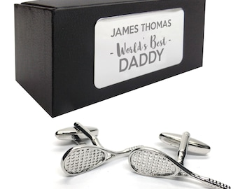 Squash racquet, player sports CUFFLINKS birthday gift, presentation box PERSONALISED ENGRAVED plate - 729