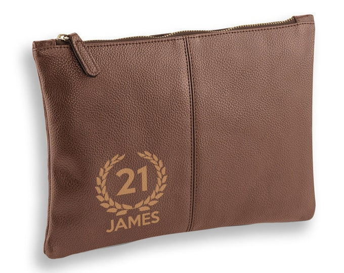 Personalised engraved 21st Birthday BROWN LEATHER pu accessory, tablet, wash bag, toiletry case - AC-L21