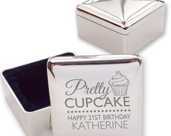 Engraved 21ST BIRTHDAY square shaped trinket box gift, silver plated - Pretty as a cupcake  - PRE21