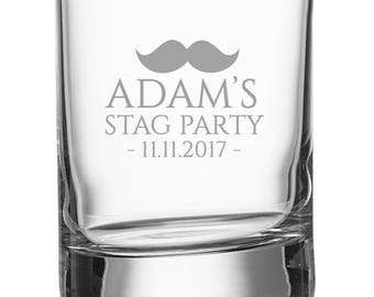 Engraved STAG PARTY shot glass, personalised shot glasses with bachelor's name and stag night date, moustache - SH-STAG1