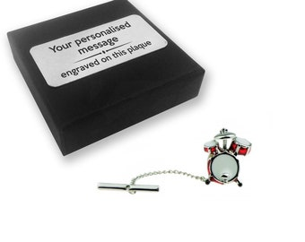 a2451923fd34 Drum kit, drummer, musician, music TIE CLIP, tie tac, personalised ENGRAVED  novelty birthday christmas wedding gift - TT046
