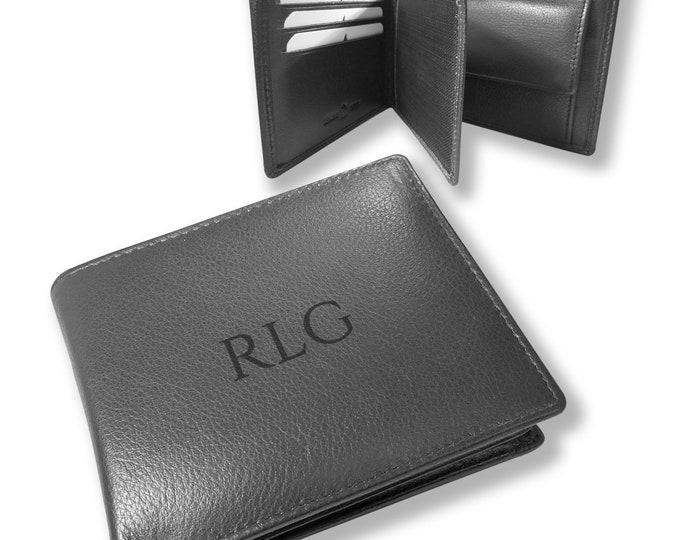 Engraved personalised monogram, monogrammed genuine leather wallet gift for him, black, trifold, coin pocket - DAL3MON