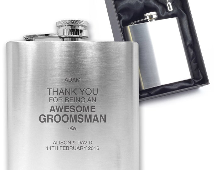 Personalised engraved GROOMSMAN hip flask wedding thank you gift idea, stainless steel presentation box - FERN3