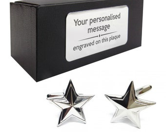 Star shape themed novelty CUFFLINKS gift, presentation box PERSONALISED ENGRAVED plate - 177