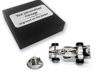 Racing, car, F1, lapel pin badge, tie pin, brooch accessory, boutonniere - personalised engraved gift box - 095