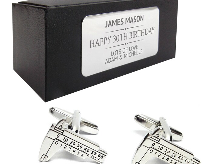 Engineer calipers CUFFLINKS gift for him, personalised engraved cufflink box - 090