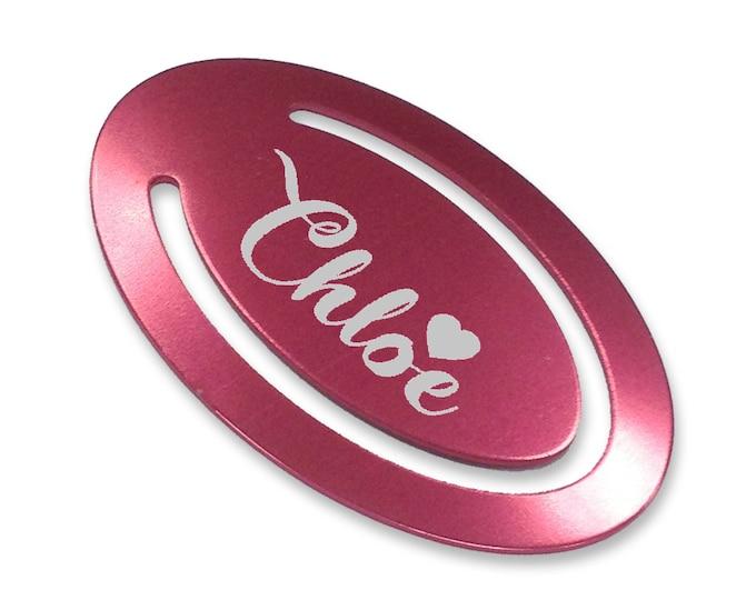 Personalised engraved kids childrens custom bookmark birthday gift idea, laser engraved custom pink metal bookmark, heart LBKP1