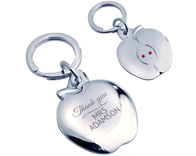 Personalised engraved THANK YOU keyring gift, teacher, friend, silver plated, crystal - AP-TEA1