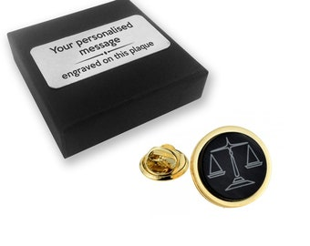 Lawyer, solicitor, scales of justice lapel pin badge, tie pin, brooch accessory, boutonniere - personalised engraved gift box - 010