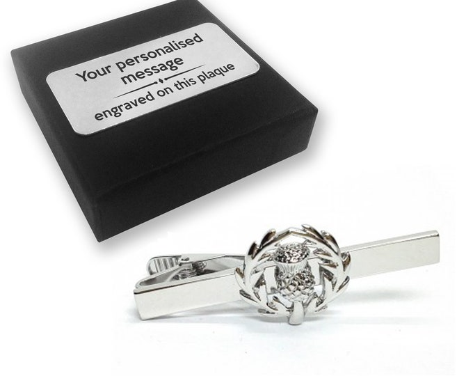 Scottish, thistle, Scotland, Scottish thistle, TIE CLIP, tie tac, personalised ENGRAVED novelty birthday christmas wedding gift - 043