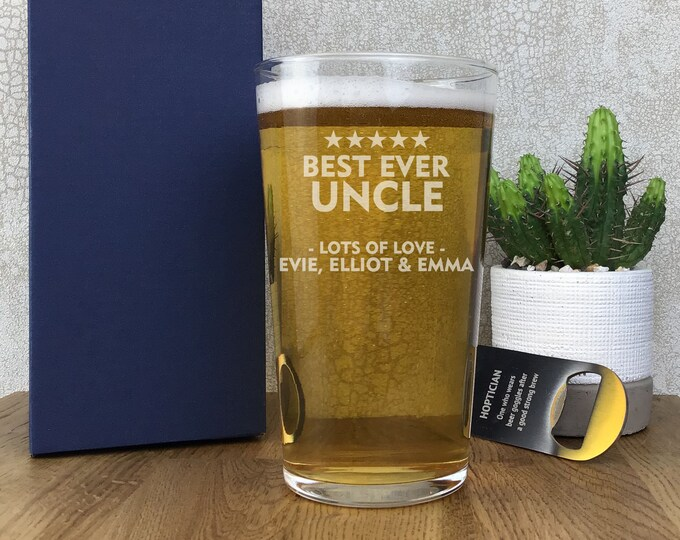 Laser engraved UNCLE pint glass gift, personalised beer glass, gift boxed, best ever - SPT-FAM3