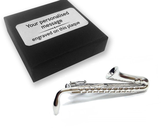 Saxophone, music, instrument, tie clip, tie tac, personalised ENGRAVED novelty birthday christmas wedding gift - 158