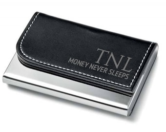 Engraved Business Card Holder, Monogram Motivational Quote, Black Leather PU business executive card case - 7554 BCH-MOT1