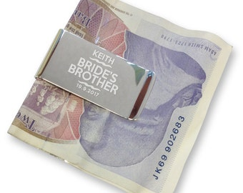 Personalised engraved brother of the bride MONEY CLIP wedding gift, thank you - silver plated  - WE10