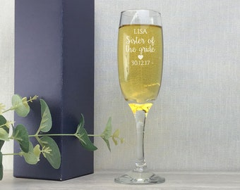 Engraved SISTER of the GROOM glass gift, champagne prosecco flute wedding glass - EFL-WD9