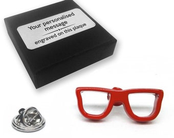 Geek glasses spectacles optician opthamologist gift, lapel pin badge, tie pin, brooch accessory - personalised engraved gift box - 292