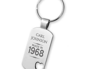 Engraved 50TH BIRTHDAY keyring gift, heart cut out keyring - 5583MD50