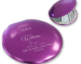 Personalised engraved WITNESS compact mirror wedding thank you gift, purple metallic handbag mirror - LMWH7