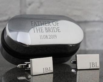 Engraved FATHER of the BRIDE wedding cufflinks, monogram, cuff links, engraved cufflinks box - RT-W3
